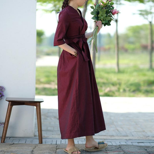 Vintage 3/4 sleeve warp long dresses