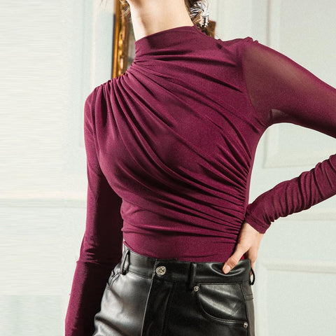 Long sleeve ruched tees
