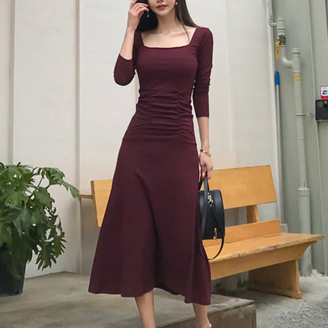 Solid square neck ruched skater dresses
