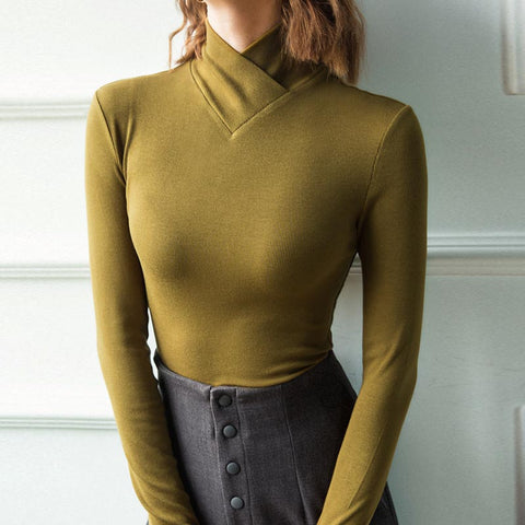 Turtleneck solid stretchy slim knit tops