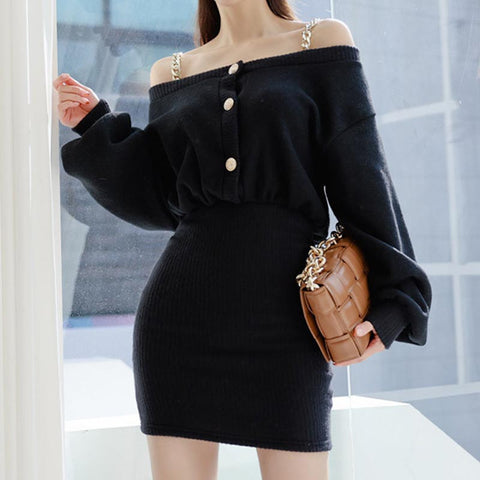 Off-the-shoulder sheath sweater dresses