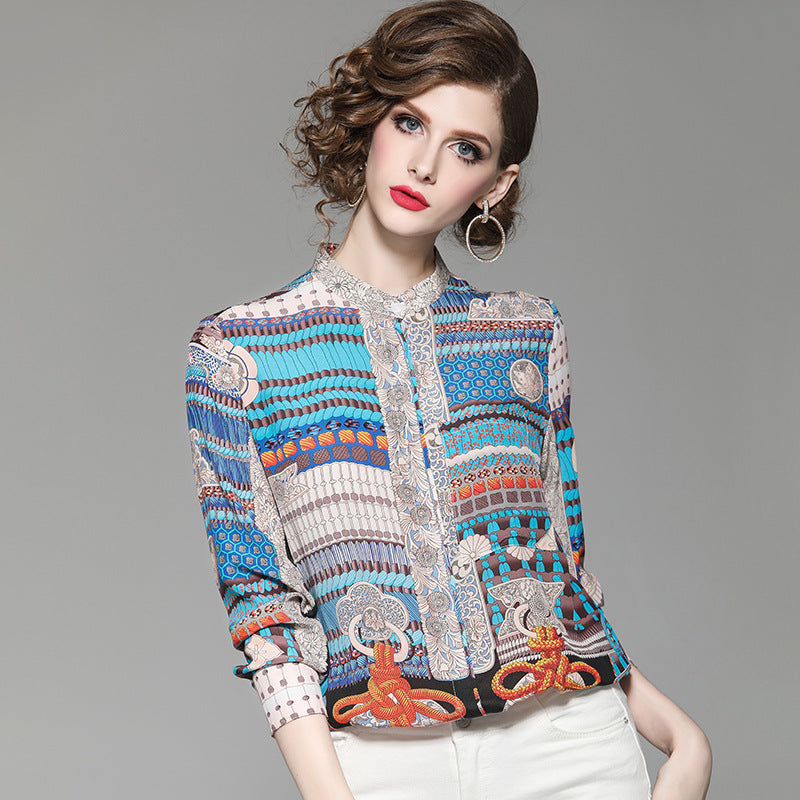 Geometric print mock neck silk blouses - Fancyever