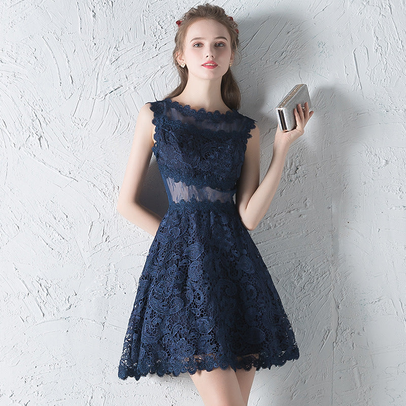 Openwork transparent sleeveless a-line dresses - Fancyever
