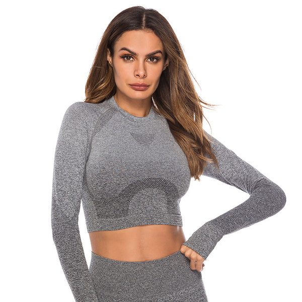 Colorblock yoga fitness tops - Fancyever