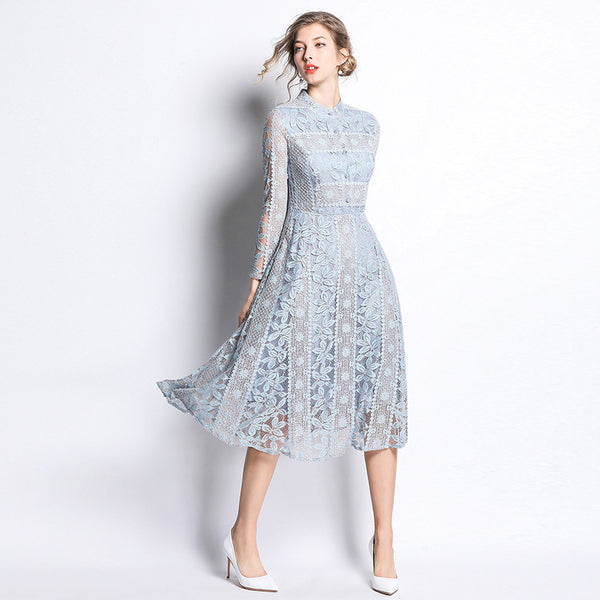 Elegant embroidered lace midi dresses - Fancyever