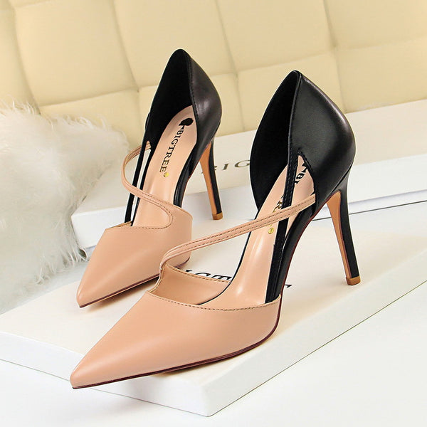 Hit color pointed toe heels