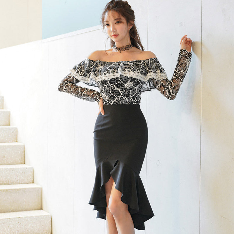 Off the shoulder peplum skirt suits
