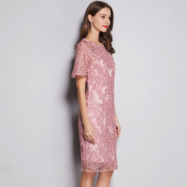 Elegant pink embroidered plus size dresses - Fancyever