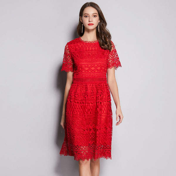 Elegant red lace plus size dresses - Fancyever