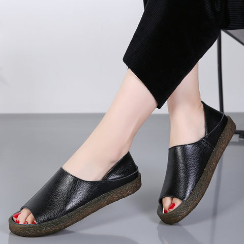 Soft leather peep toe flat slippers
