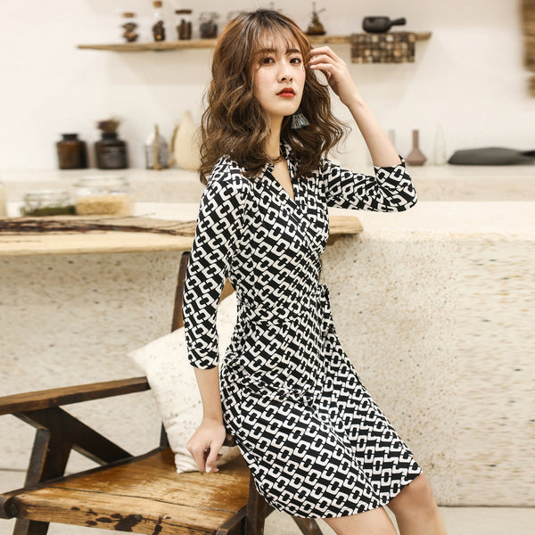 Black and white office wrap dresses - Fancyever