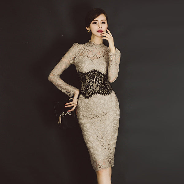 Color-blocked lace openwork sheath dresses