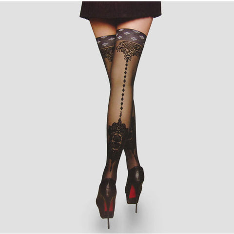 3 pairs embroidered thigh high stockings