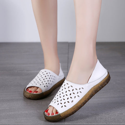 Peep toe openwork leather slippers