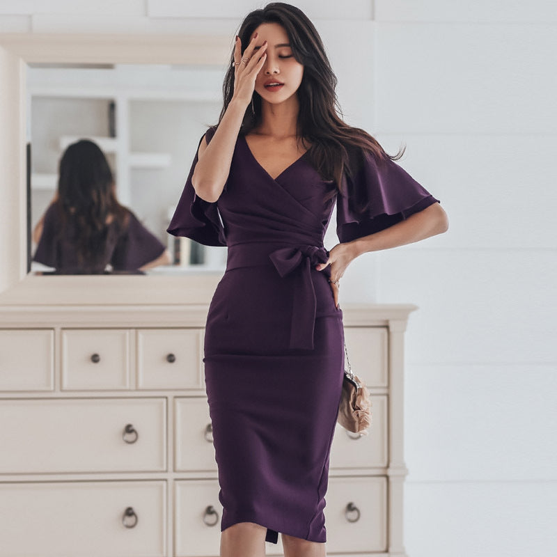 Flare sleeve belted bodycon dresses - Fancyever