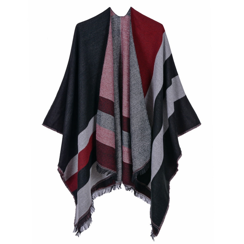 Striped cape scarves with fringe