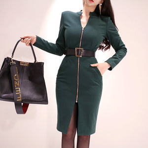 Mock neck sheath belted office dresses