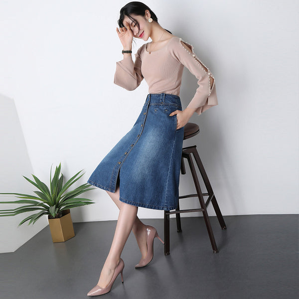 Denim single-breasted a-line skirts - Fancyever