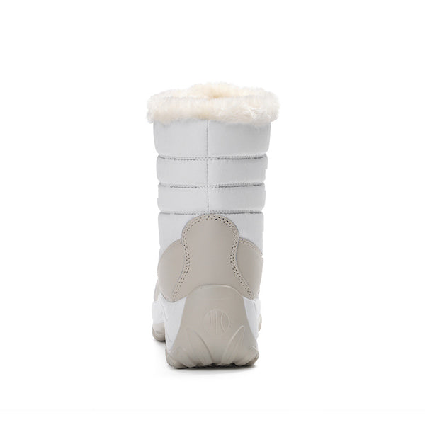Fur color-blocked thick snow boots