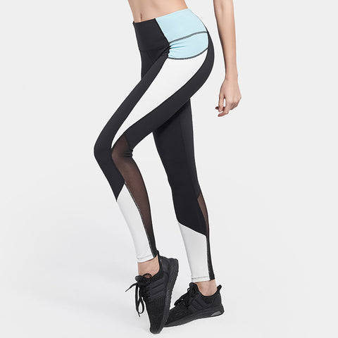 Color block mesh patchwork yoga pants