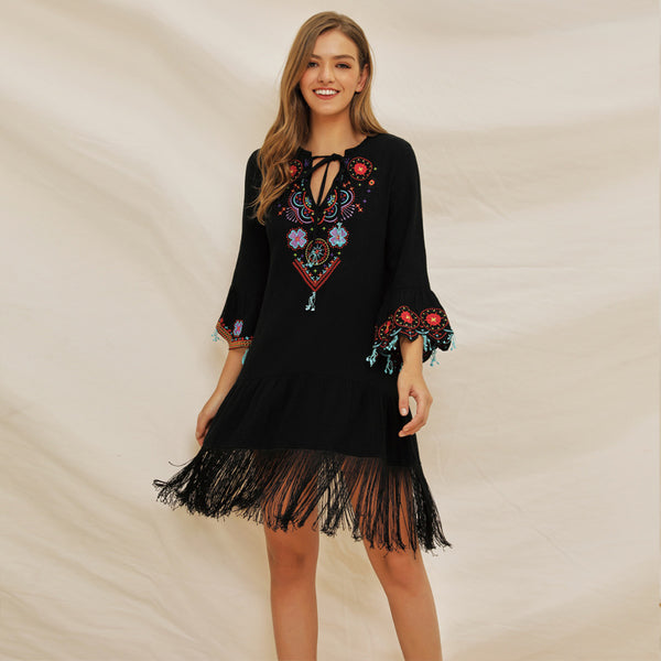 Embroidered flared sleeve tassel dresses - Fancyever