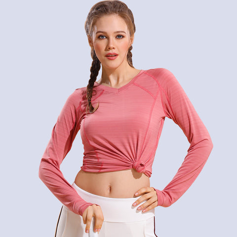 V-neck quick-dry stretchy long sleeve active tees