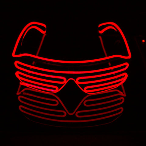 Halloween shutter el wire neon rave glasses
