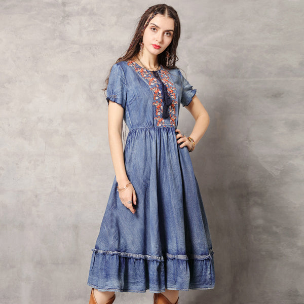 Chic embroidery denim dresses - Fancyever