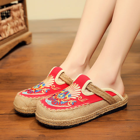 Retro embroidered linen canvas slippers