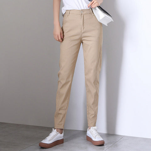 Retro high waisted chino ankle-tied pants