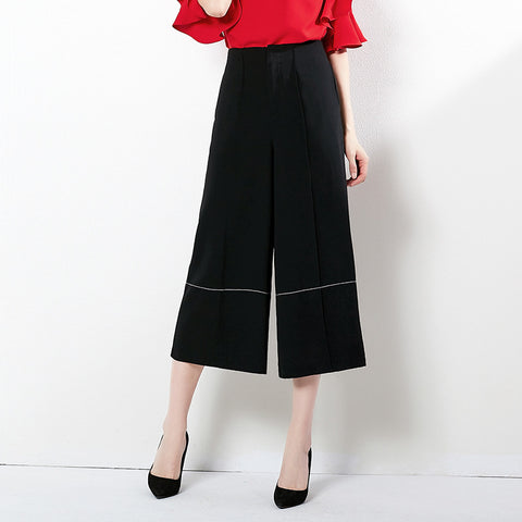 Solid color cropped wide leg pants