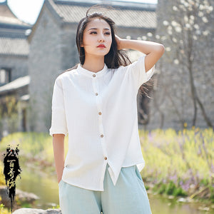 Oversize mock neck button front linen tops