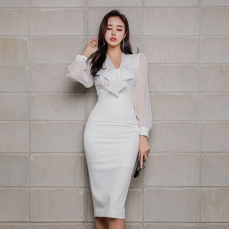 Tie-collar high waisted sheath dresses