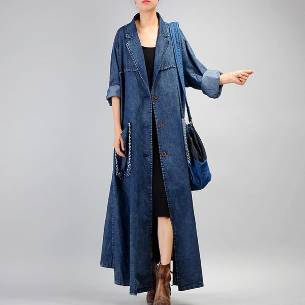 Wide lapel long denim trench coats