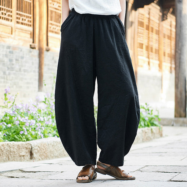 Linen elastic waist tapered pants - Fancyever