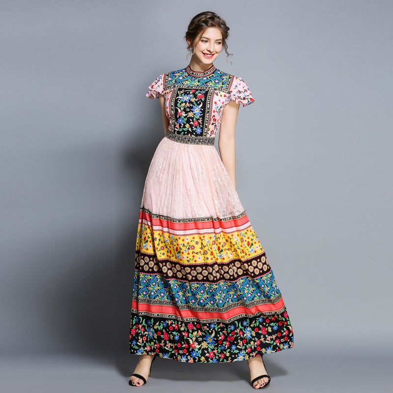 Color printed vintage maxi dresses-Fancyever