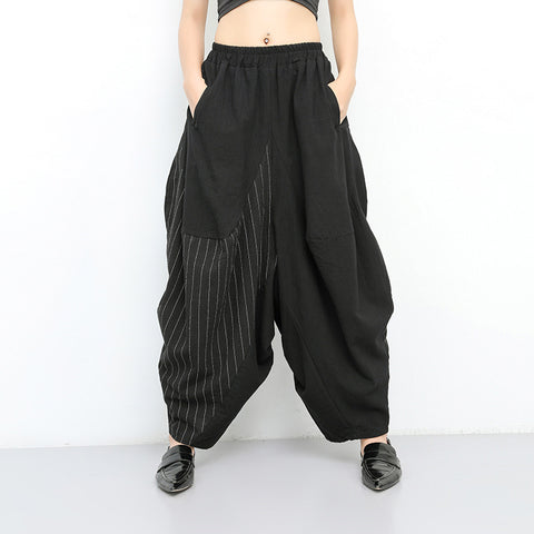 Striped elastic waist patchwork harem pants