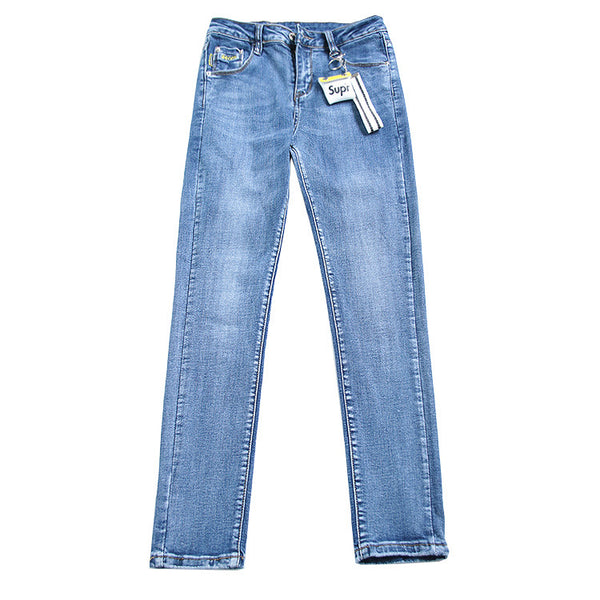 Blue washed denim pencil pants