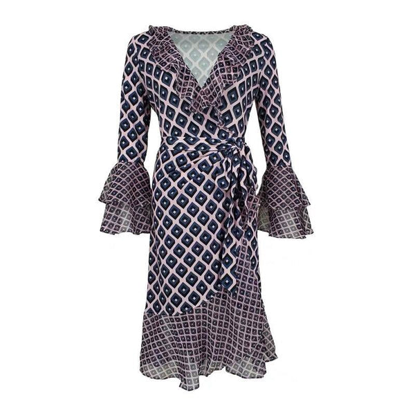 Flare sleeve plaid patchwork dresses - Fancyever