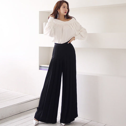 Off-the-shoulder pullover wide leg pant suits