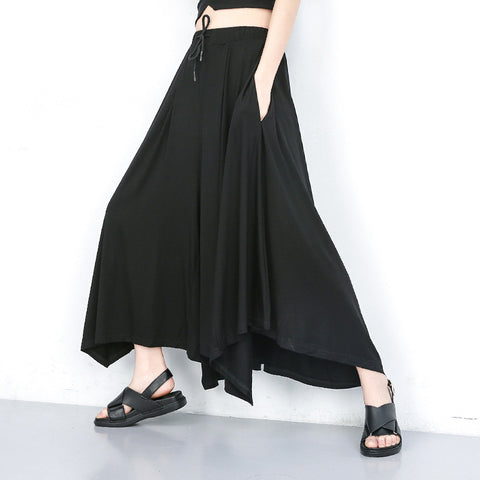 Plus size elastic waist wide leg pants