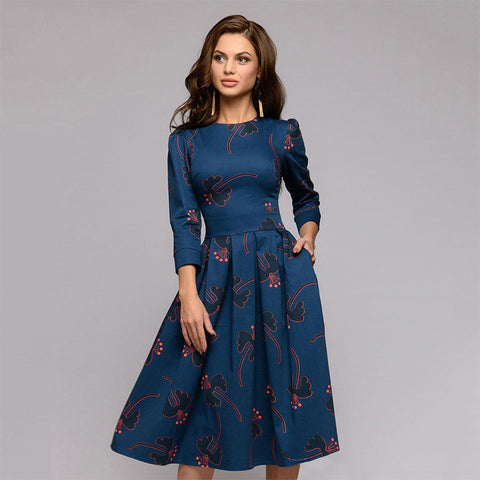 3/4 sleeve print cocktail dresses - Fancyever