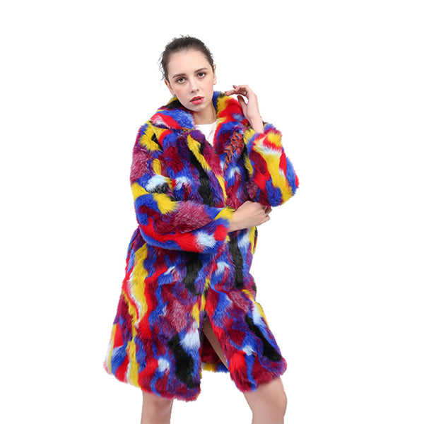 Multi color faux fur straight coats - Fancyever