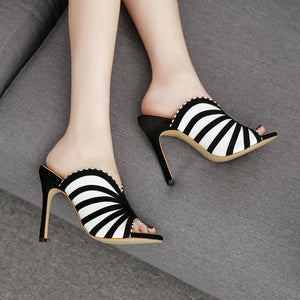 Striped peep toe slippers