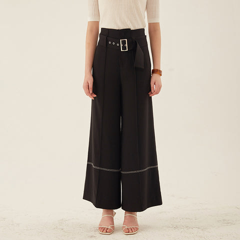 Bucked black wide leg pants