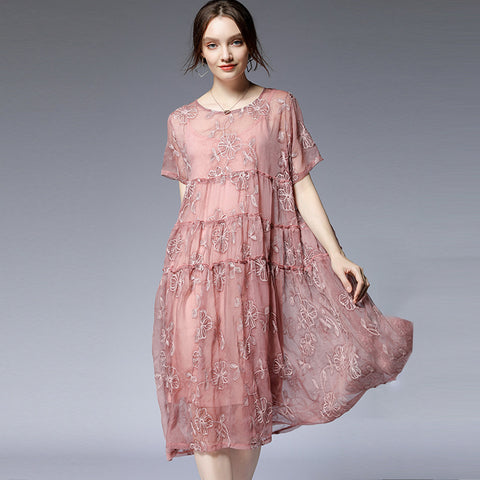 Sweet pink embroidery shift dresses-Fancyever