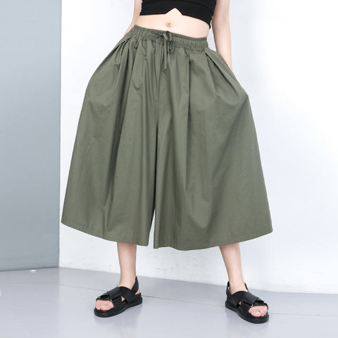 Gathered waist solid cropped culottes pants