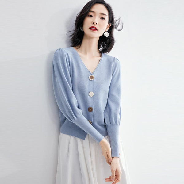 Lantern sleeve buttoned cardigans - Fancyever