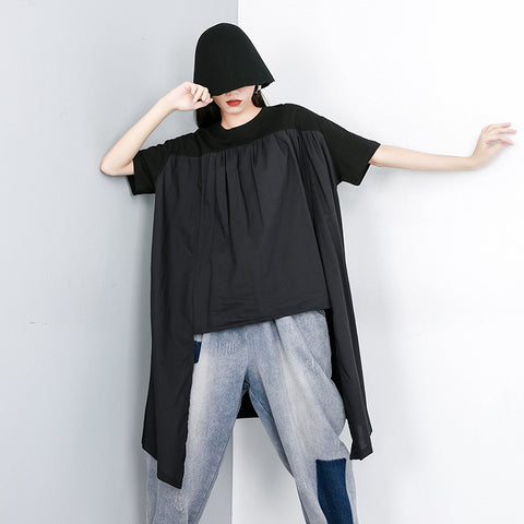 Oversize irregular pleated patchwork tees