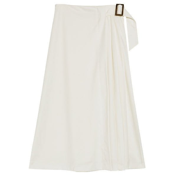 Solid color belt pleated skirts